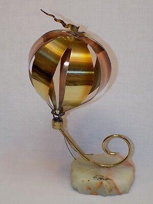 Hot Air Balloon Brass Metal Vintage Sculpture Quartz Rock John DeMott Signed Art