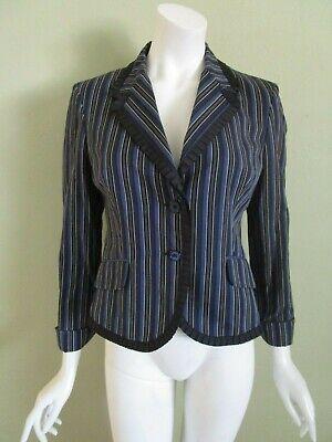 ALEXANDER McQUEEN Made in Italy Blue Stripe Grosgrain Trim Cotton Blazer Size 44