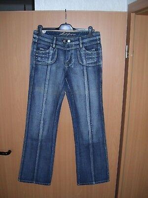 SHAQIRU Damen Jeans Hose blau used Look mit Strass besetzt Size 30 Grösse 40 NEU - Strass Besetzte Jeans