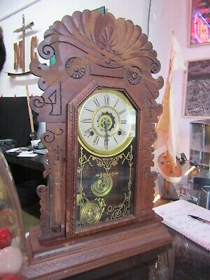 Antique Waterbury 'ALBANY' Parlor 8 Day Mantle Clock Working Circa 1890's