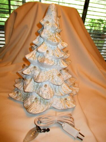 Vtg Ceramic White Christmas Tree w Gold Glitter Electric 42 Clear Mini Bulbs