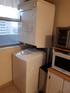 Apartment size washer and dryer with stand