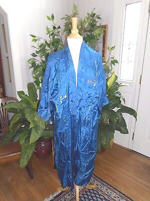 Antique Hand Embroidered Teal Blue Silk Robe
