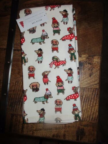 DACHSHUND Sweater Dog Christmas Holiday 2 Cream Kitchen Towels - Wiener Dogs