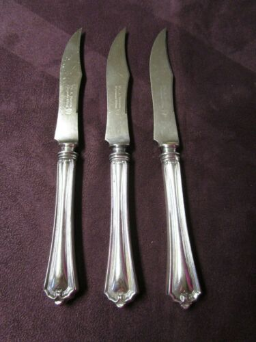 RALEIGH 3 Hollow Handle Fruit Knives Rogers Silverplate No Mono FREE SHIPPING