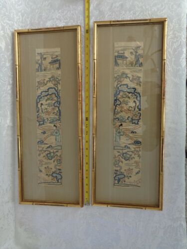 Old  Pair Framed Chinese Embroidered Silk China