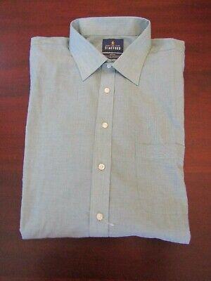 mens stafford travel easy care dress shirt XXL 18 x 34/35 nwot green mini stripe