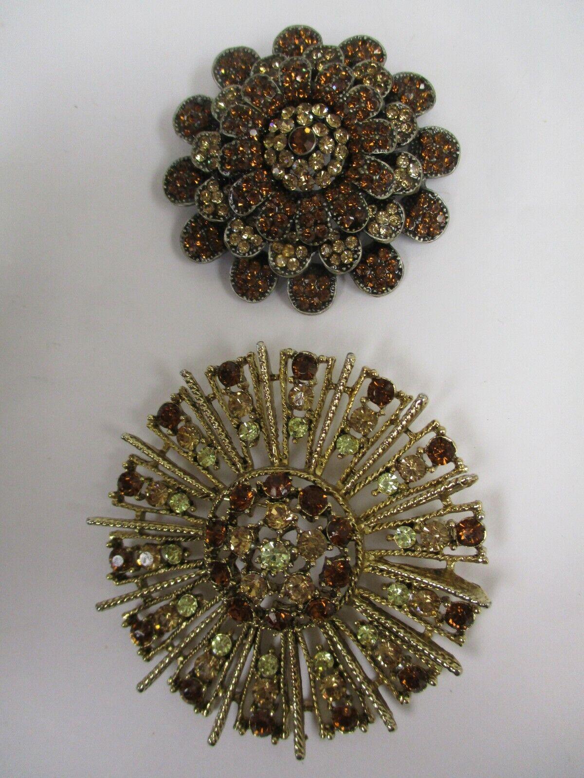 Vintage Golden Brown Gemstone Brooch Lot Of 2