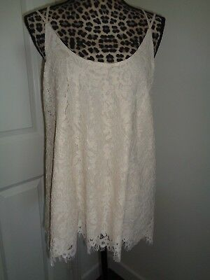 Line Chaser (CHASER Metallic Vanilla Lace Criss Cross Back Lined Tank Top Size L NWT )