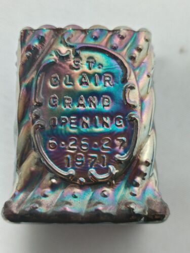 RARE St Clair Carnival Glass GRAND OPENING ADVERTISING Toothpick Holder 1971