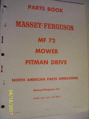 Vintage Massey Ferguson Parts Manual-mf 72 Mower - 1967