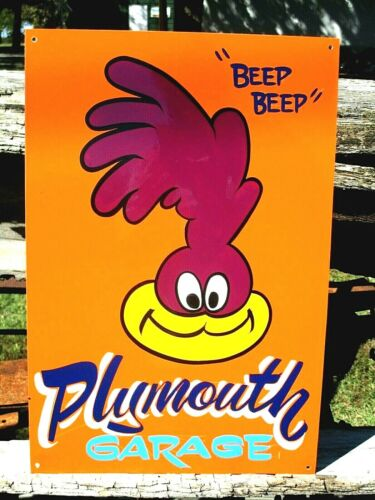 Road Runner Chrysler Plymouth Hand Painted Metal Sign  Muscle Car Gas Oil Race