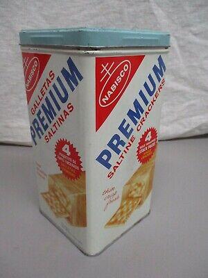 VINTAGE 1970'S NABISCO PREMIUM TIN SALTINE CRACKERS METAL CAN DISPLAY CAN LARGE
