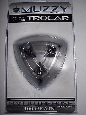 @NEW@ Muzzy Trocar 100 grain Broadhead! #290 3 blade hunting tip