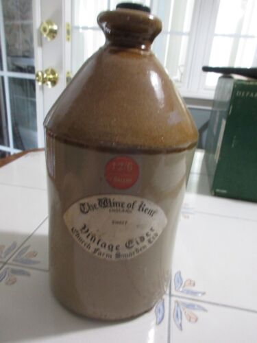 "Vintage 11"" Crock England The Wine of Kent Cider Church Farm Smarden Ltd"