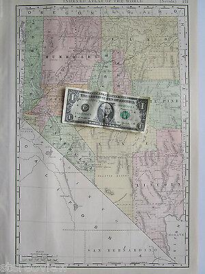 NV Map. 1902 Dated 1900s Rand McNally NEVADA Map Art Print Decor Railroad - $14.97