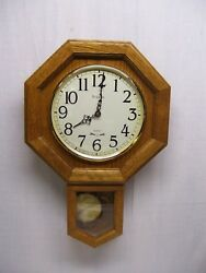 Vintage BULOVA Wall Clock Schoolhouse Oak Wood Brass Pendulum 1990s Quartz