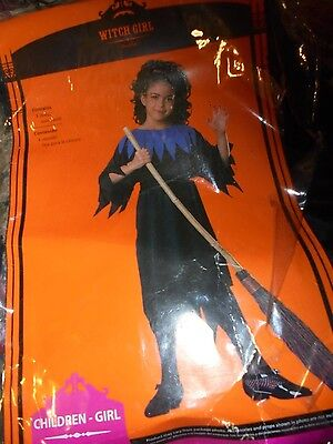 NEW NWD Witch Girl Halloween EASY costume size Medium dress and sash 7 8 simple](Easy Halloween Girl Costumes)