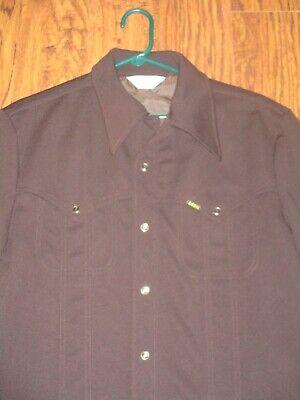 1970s Mens Shirt Styles – Vintage 70s Shirts for Guys Vintage Lee 1970's Polyester Pearl Snap Shirt-Jac Brown Size M/L $29.99 AT vintagedancer.com