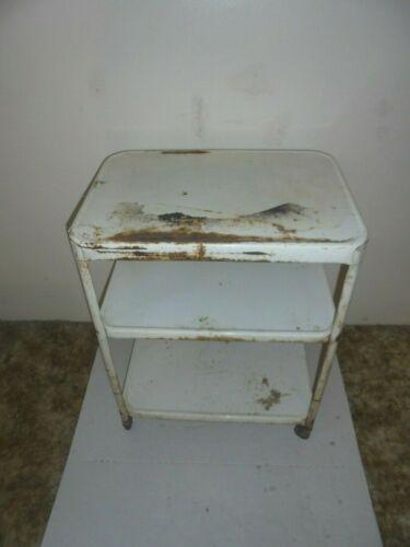 vintage metal kitchen cart on wheels 3 shelves white costco flower porch decor