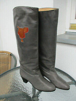 VINTAGE GUCCI GRAY LEATHER SADDLE PATCH DETAIL RIDING BOOTS SIZE 38