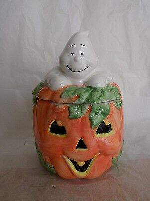Hand Painted Ceramic Halloween Pumpkin Cookie Jar with a Ghost Lid