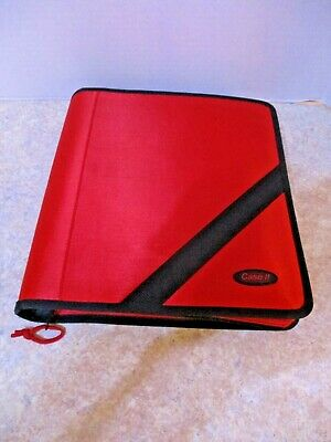 Case-it Zip Tab 3-ring 3-inch Zipper Binder Red With Accesories