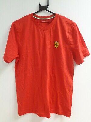 Ferrari Official Mens Red V Neck Logo T-Shirt Size Small