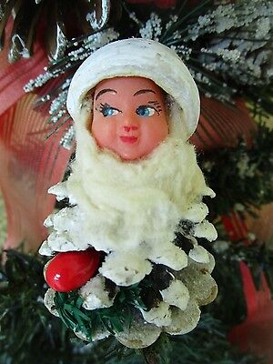 VINTAGE RARE ELF/GNOME SPUN COTTON&CELLULOID FACE&PINECONE BODY XMAS ORNAMENT