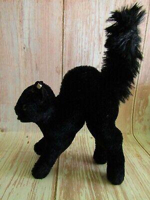 Steiff Vintage 60's Black Cat Mohair Tom Halloween