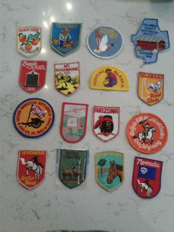 Large vintage patch lot-john deere-firestone-indian-etc..