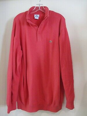 LACOSTE 8 coral red button collar gator logo pullover sweater sz XL