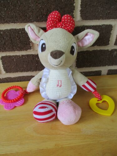 "Rudolph reindeer Clarice10"" plush musical rattle hanging clip baby toy teether"