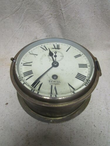 Vtg Bronze Antique SEWILL LIVERPOOL Made In England Marine Ships Clock 1930
