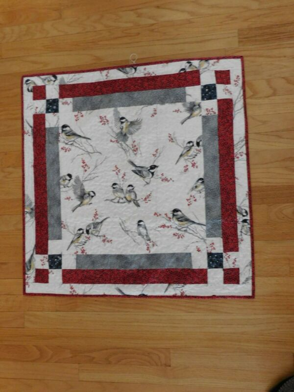 """Christmas  Quilted Table Topper with Chickadees 31"""" x 31"""""""