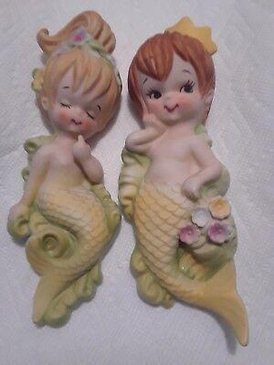 Vintage Lefton Ceramic Mermaid and Merman on wave Wall Plaque figurine