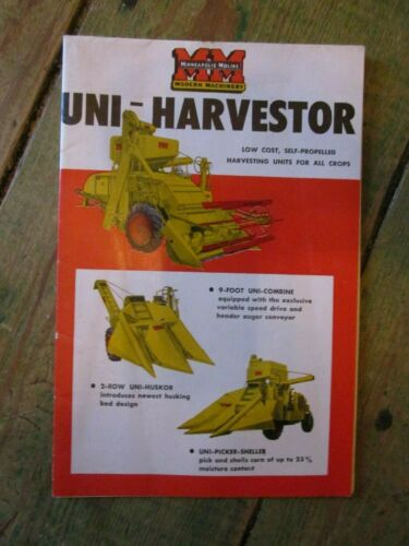 Original Minneapolis - Moline Uni-Harvester Dealer Brochure 1953, Excellent!