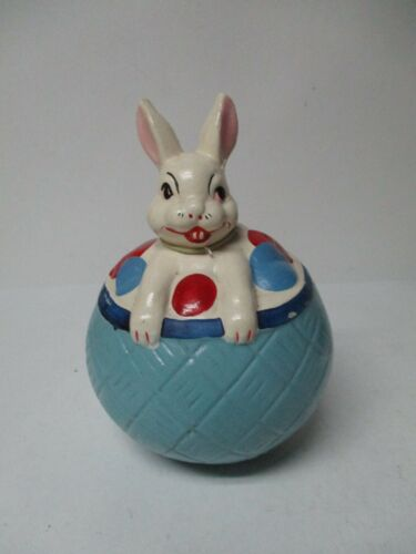 Vintage Easter Rabbit w Eggs Roly Poly Toy