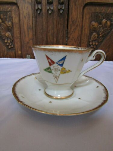 Vintage Hand Painted China C-101 OES Masonic Tea Cup & Saucer-  Eastern Star