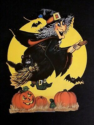 1980 VINTAGE HALLMARK HALLOWEEN FLYING WITCH PUMPKINS DIE CUT -BATS MOON