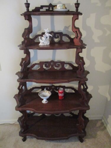BIG & BOLD ANTIQUE VICTORIAN WHAT NOT STAND WALNUT ETAGERE SHELF 5