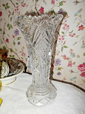 Fancy Antique Pressed Glass Early American Heavily Pattern Vase~Sawtooth Edge~