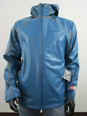 NWT Mens Columbia Outdry Hardy Road EXS Hooded Waterproof Rain Shell Jacket Blue