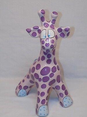 "Large Gantz Giraffe Piggy Bank Pati Signed 14"" ceramic Pink Purple Blue Tall"