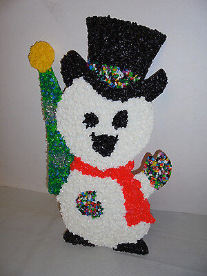"Snowman With Christmas Tree, Melted Plastic Popcorn 18"" Tall 11"" Across Retro"