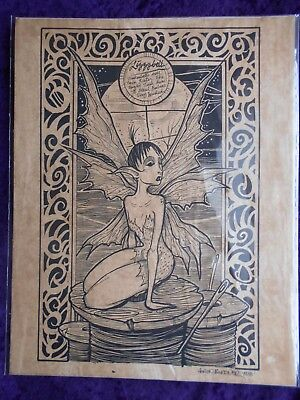 Tinker Bell's Sister (Tinkerbell's sister print on hand stained paper signed by Aaron)