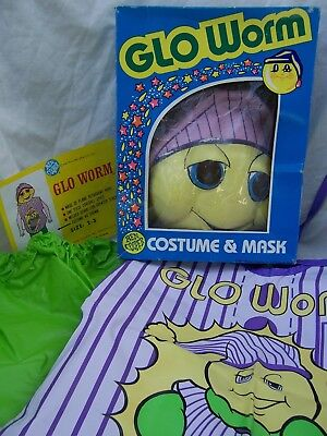 Vintage in BOX 1980's BEN COOPER Hasbro glow GLO WORM Halloween Costume Tot 2-3