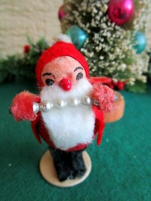 VINTAGE LRG SPUN COTTON ELF/GNOME HOLDING BLOWN GLASS BEADS CHRISTMAS ORNAMENT