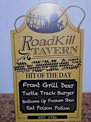 ROAD KILL TAVERN Menu Sign Wood Halloween - Halloween Decorations Signs