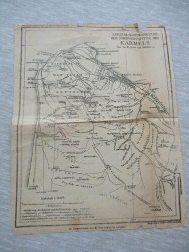 The northwest Carmel mt. area, German colonies, black & white map,Leipzig,30